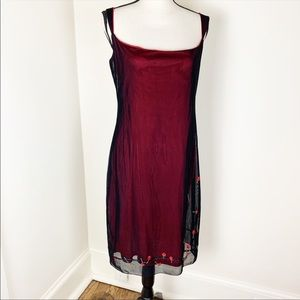 Laundry Black and Red Embroider Cocktail Dress 12.